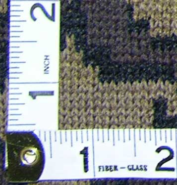"The Knit Tree Camo Fabric is 10.5 sts/"" and 10.5 visual rows / inch"