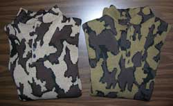 Knit Winona Camouflage fatiques sweaters knit in color ways E and Q for comparison