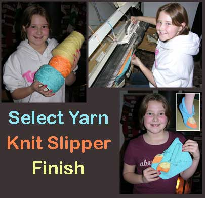 Little Knitter designs her own color way for these slippers