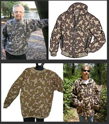 Knit Camouflage Pullover Sweaters and Knit Camo Jackets in several knit styles