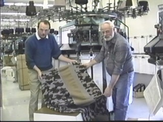Winona Camouflage knit fabric coming off the computorized knitting machine