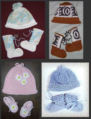 Knit Baby Caps and Knit Booties in Indian Designs Camouflage and Traditional Knit Baby Sets