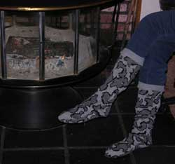 Knit camo knee high slipper socks for women and children make unique gifts