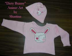 Knit Cotton Baby / Toddler Sweater featuring anime painting of dirty bunny