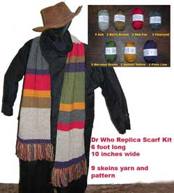 Dr Who Season 12 Yarn Kit with knitting pattern 6 foot scarf