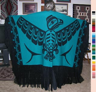 Eagle Indian Dance Shawl in Pacific Northwest Art Style Merino Wool or Acrylic Yarn