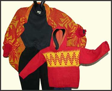 Knit Shrug and Childs hooded sweater tunic in Native American Frog Foot Design