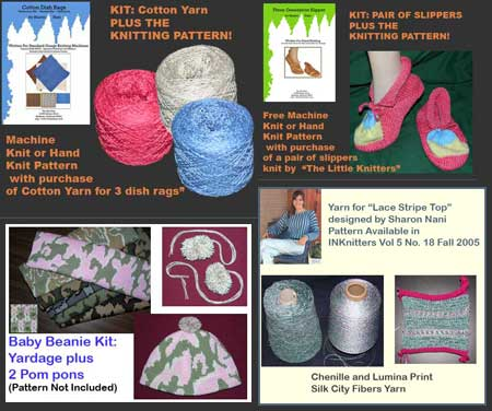Knit Kits with Dish Rag Pattern Knit Slipper Pattern Chenille and Rayon Sweater Pattern and Yarn Kit and Camouflage Knit Yardage