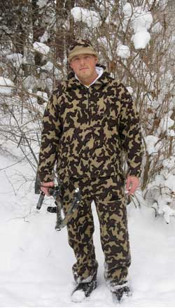 Matt is outfitted in  Knit Camo from head to toe hand loomed by The Knit Tree