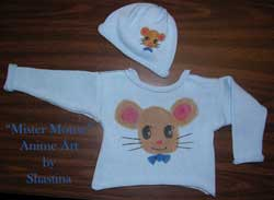 Knit Cotton Baby / Toddler Sweater featuring anime painting of Mister Mouse