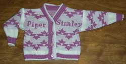 Personalized baby sweater with the Native American design Morning Star
