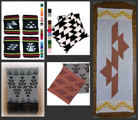 Native American Designs in Home Decor Knits include knit Indian Coasters table runners washi clothes pillow slips and wall hangings