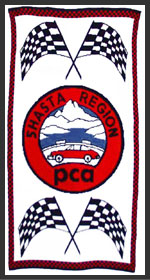 Photo of the knit logo blanket for Shasta Region PCA