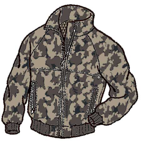 The new style of camo jacket is first visually drawn and colored on the computer