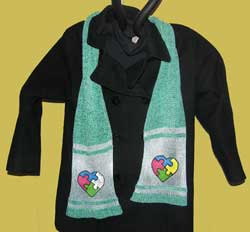 Knit Rayon Chenille Scarf featuring hand painted Autism Heart Piuzzle