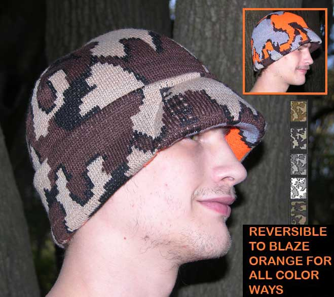 Knit Winona Survivor hat reversible to Blaze Orange Camo