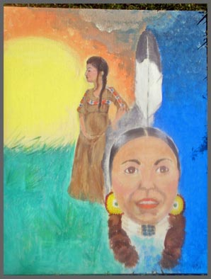 Native American Art Style Painted titled Cheyenne Woman