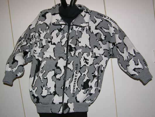 knit camo Raglan Jacket with Winona Elite Snow Camo pattern