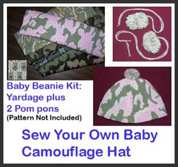 Baby Hat Sewing Kit with Camouflage Pattern and Pom Pons