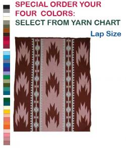 Swallow Tail Design featured on this four color Hupa Karuk Yurok Lap Blanket