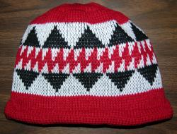 Featured Native Design ~ Sturgeon ~ Knit Adult Cap ~ shown with roll hem
