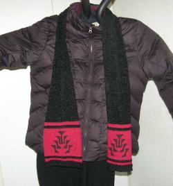 knit chenille scarf with hand painted Native frog foot design on a Red Cotton St