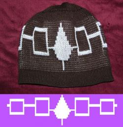 Graphic Design of a Iroquois Flag inspired from a Wampum belt knit on a Cap