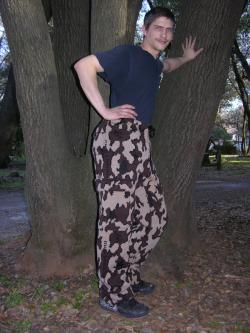 Winona Camo 100% merino Wool Knit Cargo Pants color E
