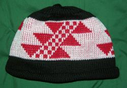 Big Flint Indian Design on Knit Native Cap with roll hem