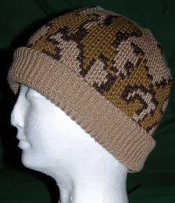 Camo Ski Runner Beanie w Lycra Rib Band color D