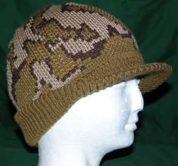 Knit visor cap in Mocha/Brown/Camel Acrylic/Merino Blend
