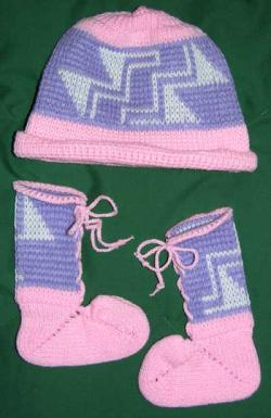 Acrylic Baby Bootie & Cap Set ~ Stairway to Heaven ~ Select Size & Colors