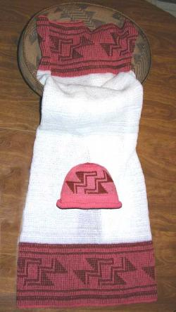 Stairway to Heaven Design Featured on this Native Baby Receiving Blanket and Cap