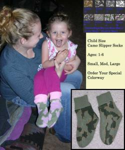 Knit Winona Camo Child Sock Slipper Order Size and Color