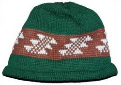 Little Flint Indian Design on Knit Native Cap with roll hem