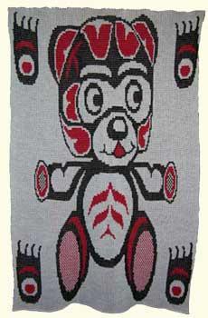 Crib Baby Blanket Teddy Bear with Bear Paws Design ~ Pacific Northwest Coast Art
