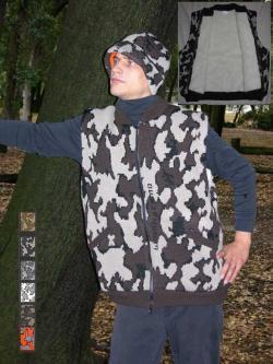 A Knit Winona Camo Classic© Vest ~ Sherpa Lining shown in E camel black brown