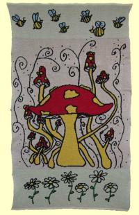 Mushroom Fantasy Blanket ~ Afghan by Little Knitter Candace Rose