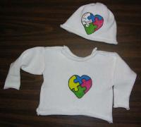 Handpainted Autism Heart Puzzle Pullover and Hat Set ~ Select Size 2T or 4T
