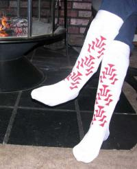 Cotton Knit Slipper Sock Knee High with Hand Painted Red  Frog Foot Design