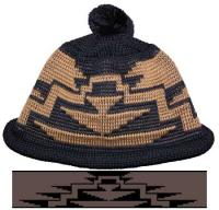 Beanie ~ Cap ~ Inspired from Art of Klamath / Modoc roll hem with Pom Pon