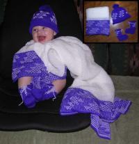 "A Baby Layette"" ~ Blanket, Cap, Booties ~ Flint Design ~ Choose Colors"