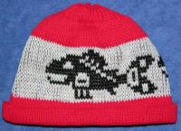 Salmon PNW Native Basketry Mark on this Baby Indian Beanie