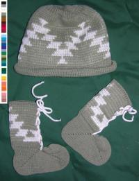 Acrylic Baby Bootie & Cap Set ~Friendship ~ Select Size & Colors