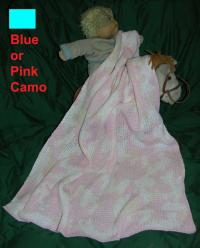 Camouflage Cotton Baby Blanket in Pink or Blue Camo