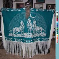 Dance Shawl ~ Acrylic or Merino ~ Howling Wolves Design ~ Select Colors