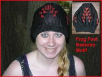 Black Rayon Knit hat with Frog Foot Motif painted in Red