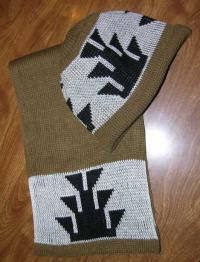 Big Foot Indian Basketry Design in Knit Adult Cap and Scarf Set