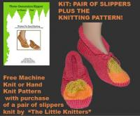 Knit Slippers ~ Flaming Red ~ Choose Size: Toddler Thur XL ~ Free Knitting Patte