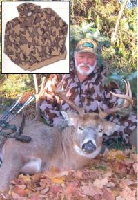 A Knit Winona Camo Elite Cardigan Jacket Bob Fratzke with his White Tail Deer